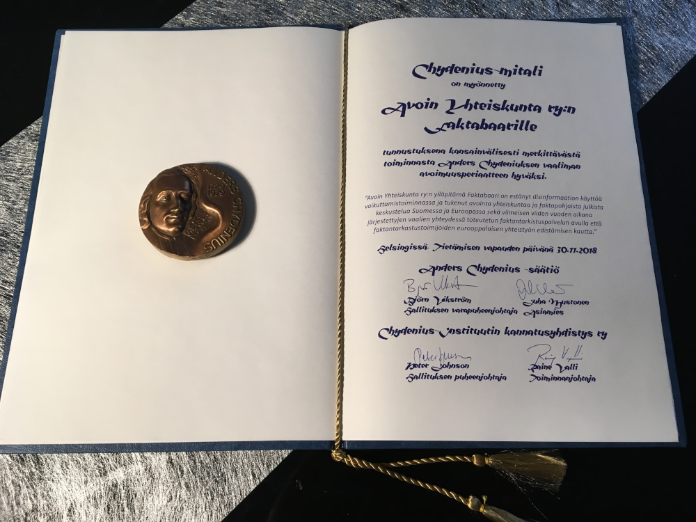 Chydenius Medal 2018 granted to Faktabaari